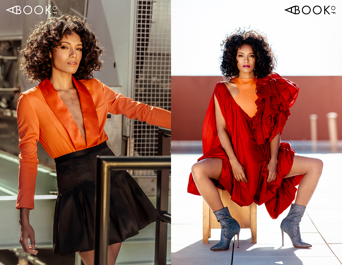 LEFT: Blazer - MSGM, Skirt - Silvana Tedseco RIGHT: Top - Zeynep Tosun, Dress - Puey Quiñones, Booties - Blumarine