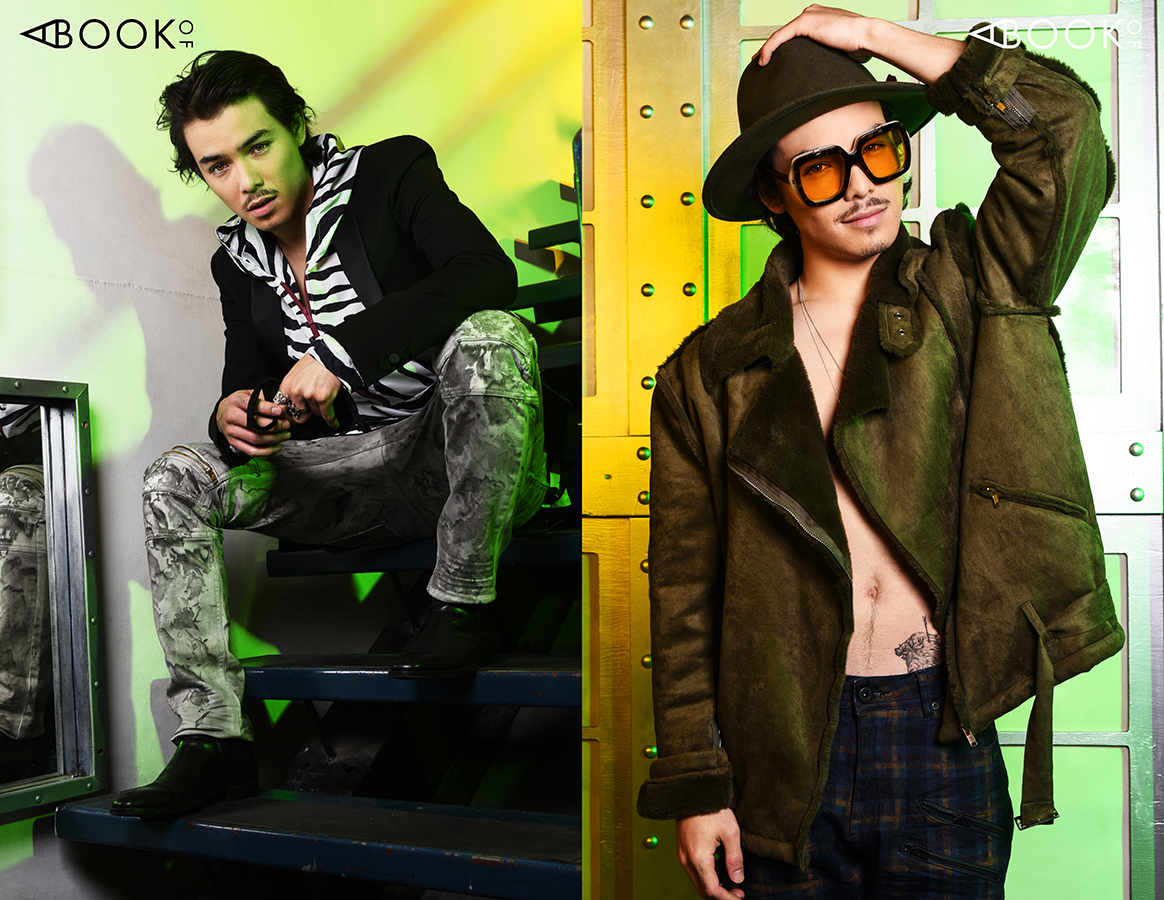 LEFT:  Top - Triple RRR, Jeans - A. Tiziano, Mask - Owsla  RIGHT:  Jacket - Lifted Anchors, Pants - A. Tiziano, Glasses - zeroUV