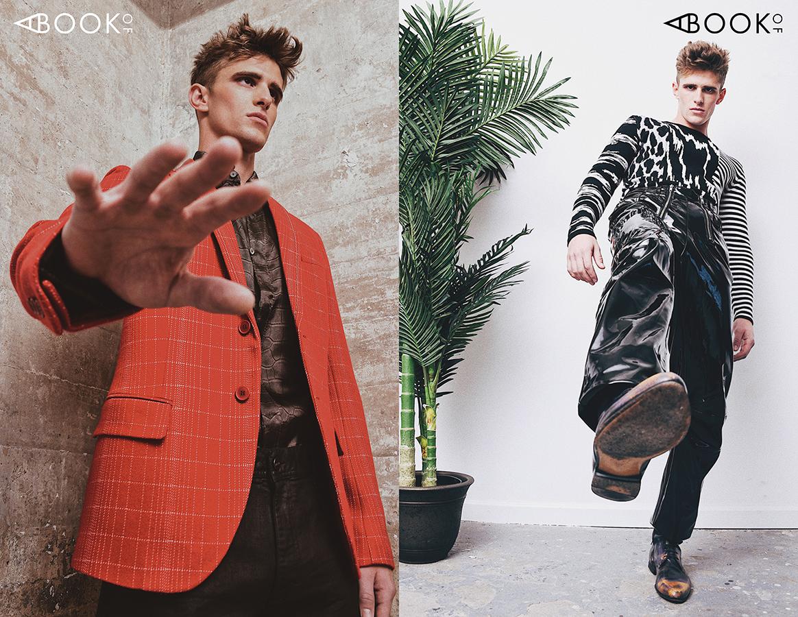 LEFT:  Blazer -  Bottega Veneta , Shirt & Jeans -  Roberto Cavalli   RIGHT:  Sweater -  Givenchy , Vinyl pants -  GmbH , Boots -  Gucci