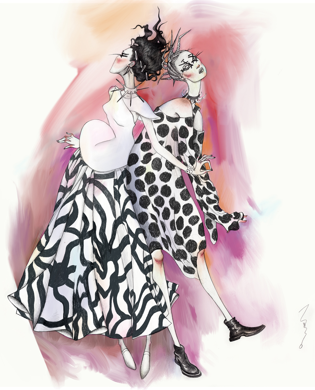 "work for a fashion illustration contest ""draw a dot"", junya watanabe (CDG) 