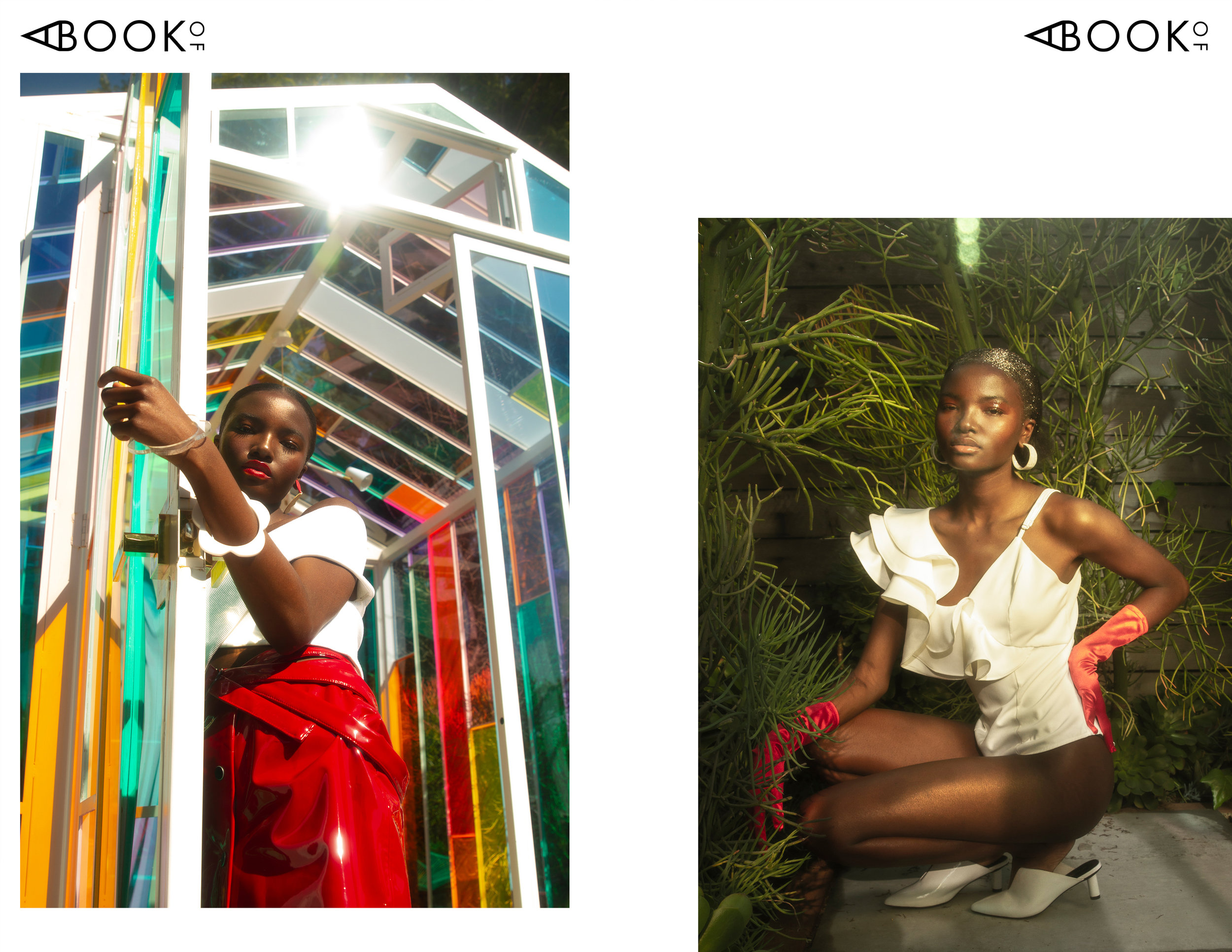 Left:  Top: Opening Ceremony | Skirt: AYA by DK | Earrings: Jax Atelier  Right:  Bodysuit: Alpha & Omega | Shoes: Jeffrey Campbell