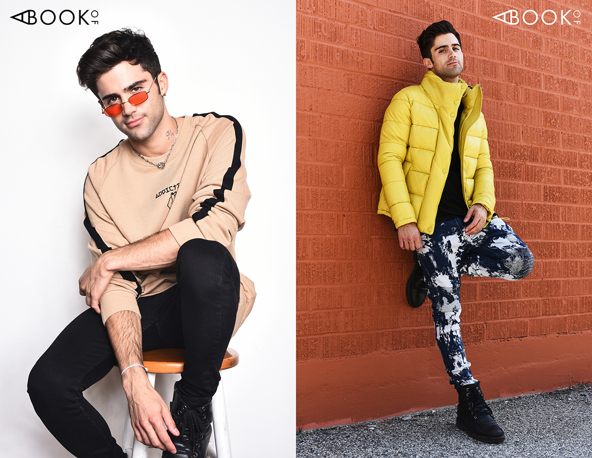 LEFT : Sweater: Conceptual, Sunglasses: zeroUV  RIGHT : Glasses: Publish X Gunnar, Shirt: Cadogan, Jacket: Ith Jkt, Pants: Soulstar,