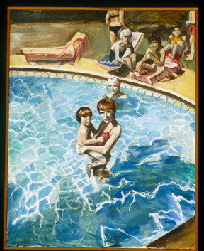 "Barbara Romain, STUART'S POOL | 28"" x 20"", oil, 1982"