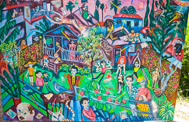 "Barbara Romain, SPIRITS OF ROMAINE ST. GATHER FOR AN L.A. BACKYARD BARBECUE 48"" x 72"", oil, 1986"