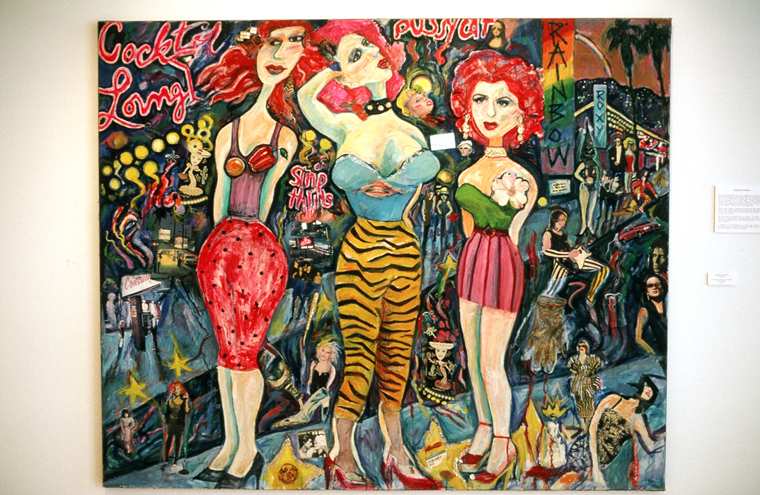 "Barbara Romain, L.A. BIMBOS/QUEENS OF THE NIGHT 48"" x 72"", oil, 1985"