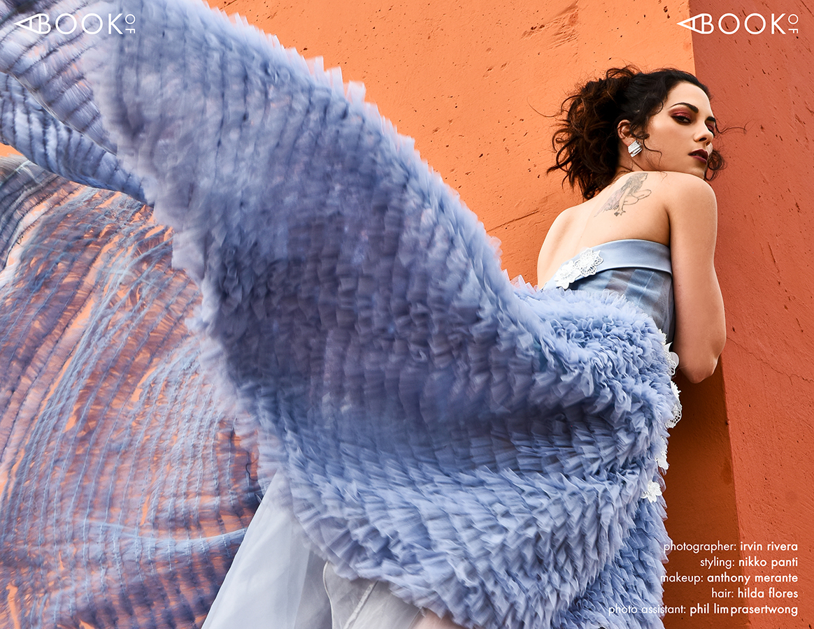STYLING:  NIKKO PANTI , MAKEUP:  ANTHONY MERANTE  for THE ONLY AGENCY, HAIR:  HILDA FLORES , PHOTO ASSISTANT:  PHIL LIMPRASERTWONG   Gown:  DONATELLA FABIO , Earrrings-  MAISON LOUELLA