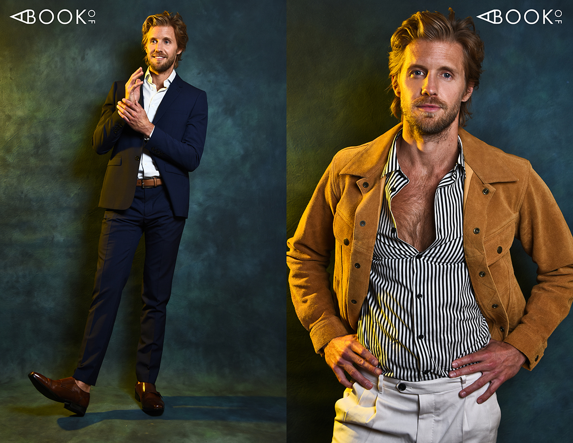 LEFT: Suit: THE KOOPLES, Shirt: Calvin Klein, Belt: HUGO BOSS, Shoes: BALLY RIGHT: Jacket: NEW YORK AND CO, Shirt: THE KOOPLES, Pants: ALLSAINTS