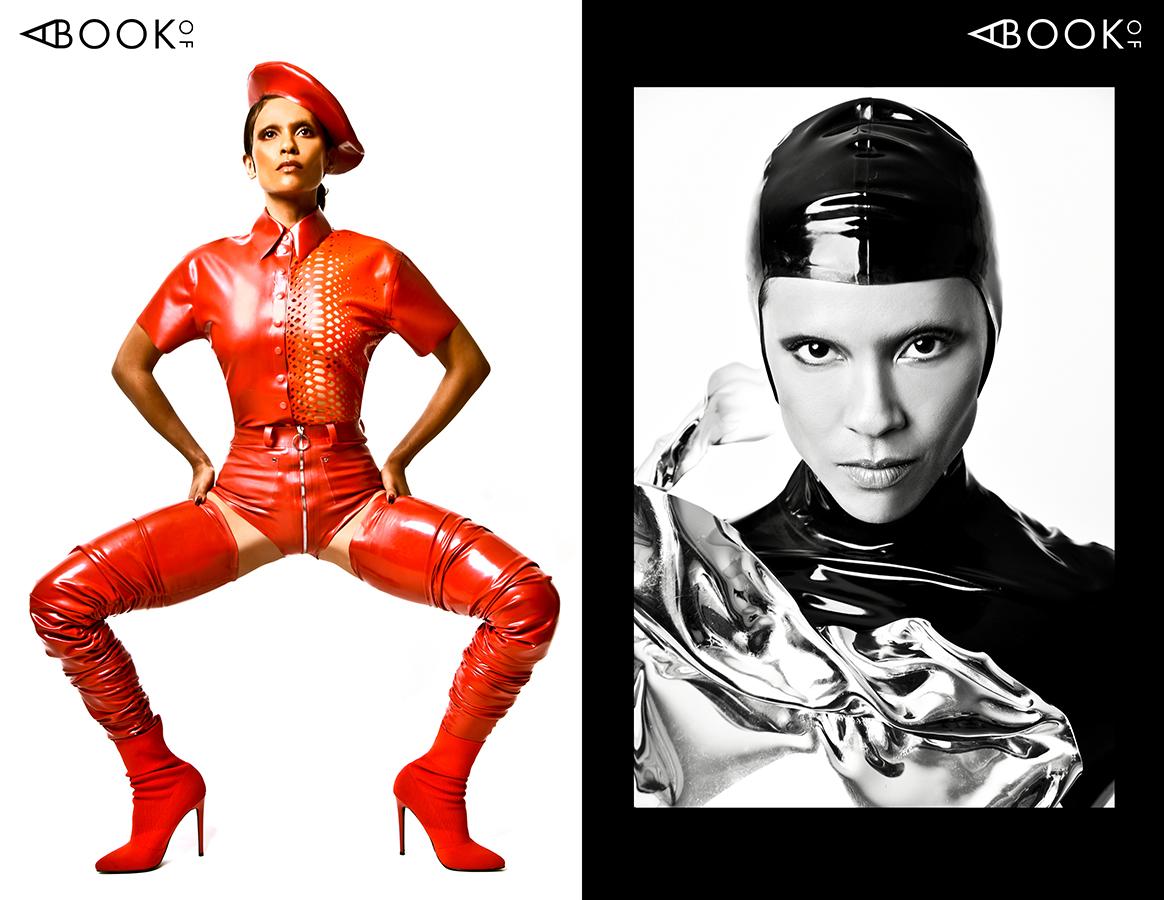 LEFT:  Hat/Shirt/Shorts/Thigh highs :  VEX , Boots:  STEVE MADDEN    RIGHT:  Headpiece:  VEX , Body Cast: GRAHAM CRUZ, Body Suit:  VENUS PROTOTYPE