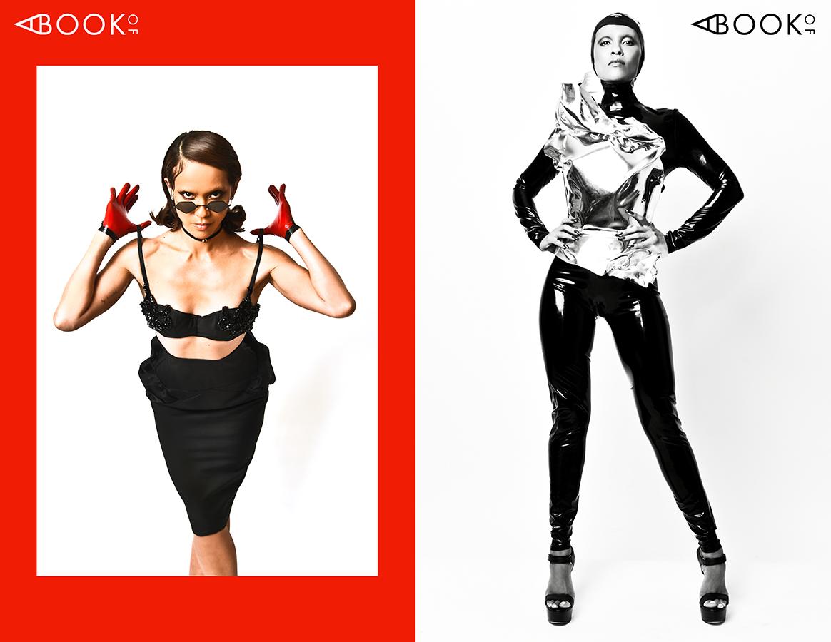LEFT:  Earrings:  ZAXIE , Sunglasses:  BONNIE CLYDE , Choker: WEN YUAN, Gloves: VEX, Bra & Skirt:  CLAUDIA SAVAGE , Shoes:  CHINESE LAUNDRY    RIGHT:  Headpiece:  VEX , Body Cast: GRAHAM CRUZ, Body Suit:  VENUS PROTOTYPE , Shoes:  RUTHIE DAVIS