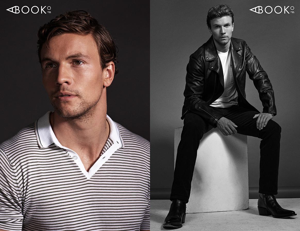 LEFT:  Shirt: JOHN SMEDLEY  RIGHT:  Shirt: SANDRO,   Leather Jacket & Pants: BELSTAFF, Shoes: DSQUARED2