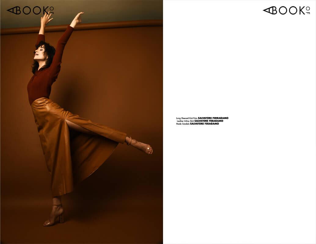 Long Sleeved Knit Polo: SALVATORE FERRAGAMO, Leather A Line Skirt: SALVATORE FERRAGAMO, Nude Sandals