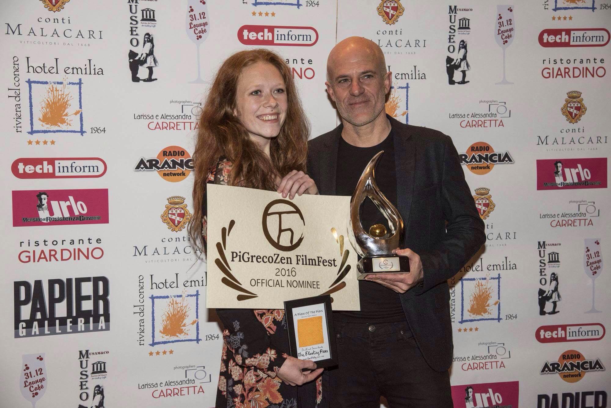 Actress Alexandra Loreth and director Kevin Pontuti at the PiGrecoZen Film Festival.