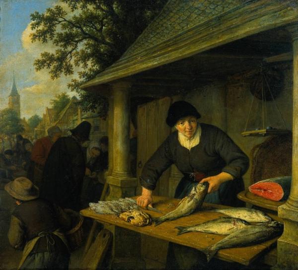 Fig 6.  Adriaen van Ostade, The Fishwife, 1673