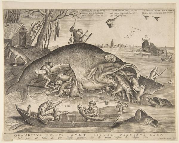 Fig 9 .Pieter van der Heyden, after Pieter Bruegel,  Big Fish Eat Little Fish , 1557