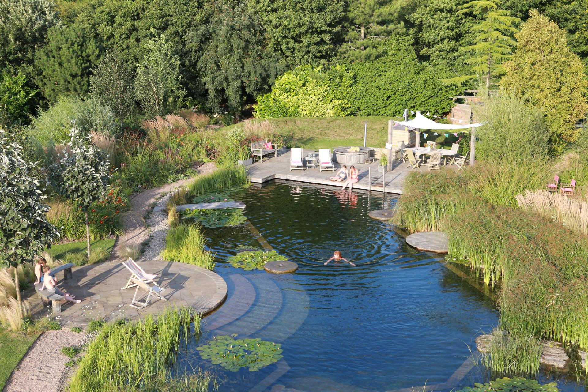 Bird's eye view Elllicar Natural Pool in summer