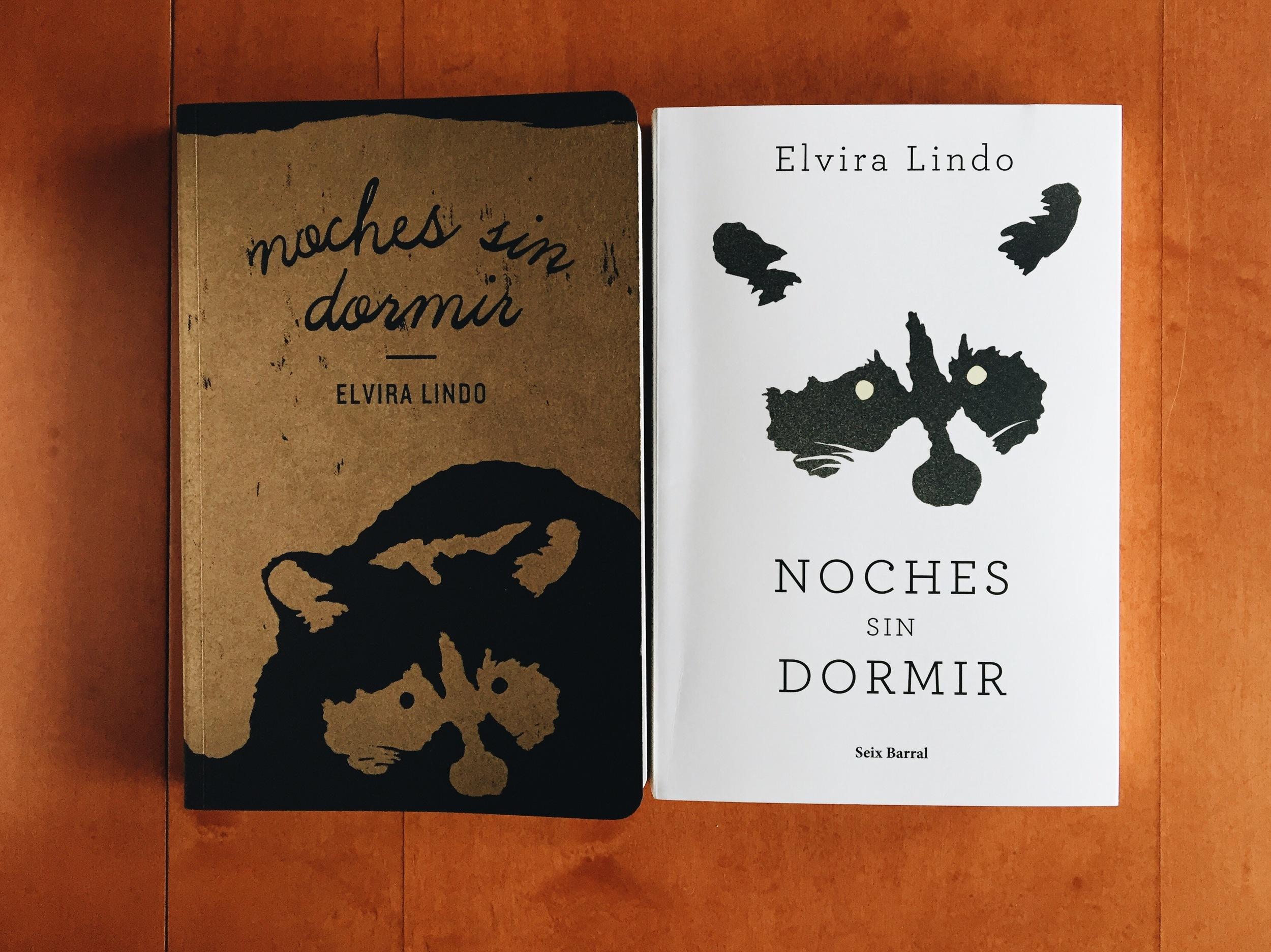 Noches Sin Dormir  de Elvira Lindo. Edición limitada de Lindo & Espinosa a la derecha. Edición de Seix Barral a la izquierda.