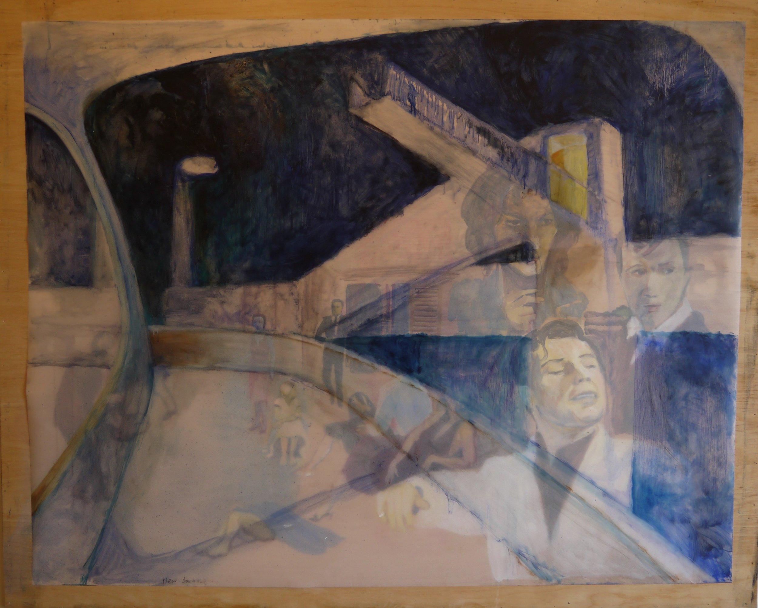 "Tsawwassen Terminal (New Baroque), 2017; oil on Duralar; 42 x 54"""