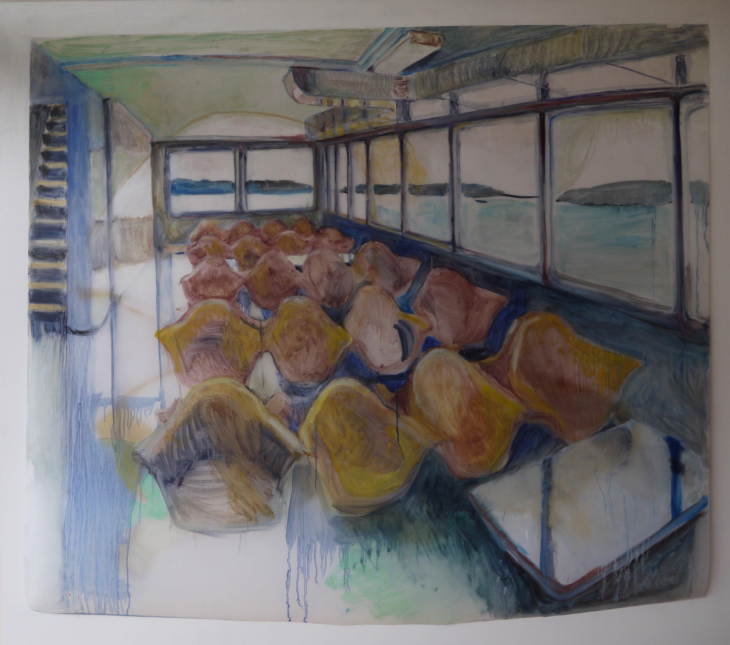 """Passenger Seating, 2017; oil on Duralar; 37""""x 42"""""""