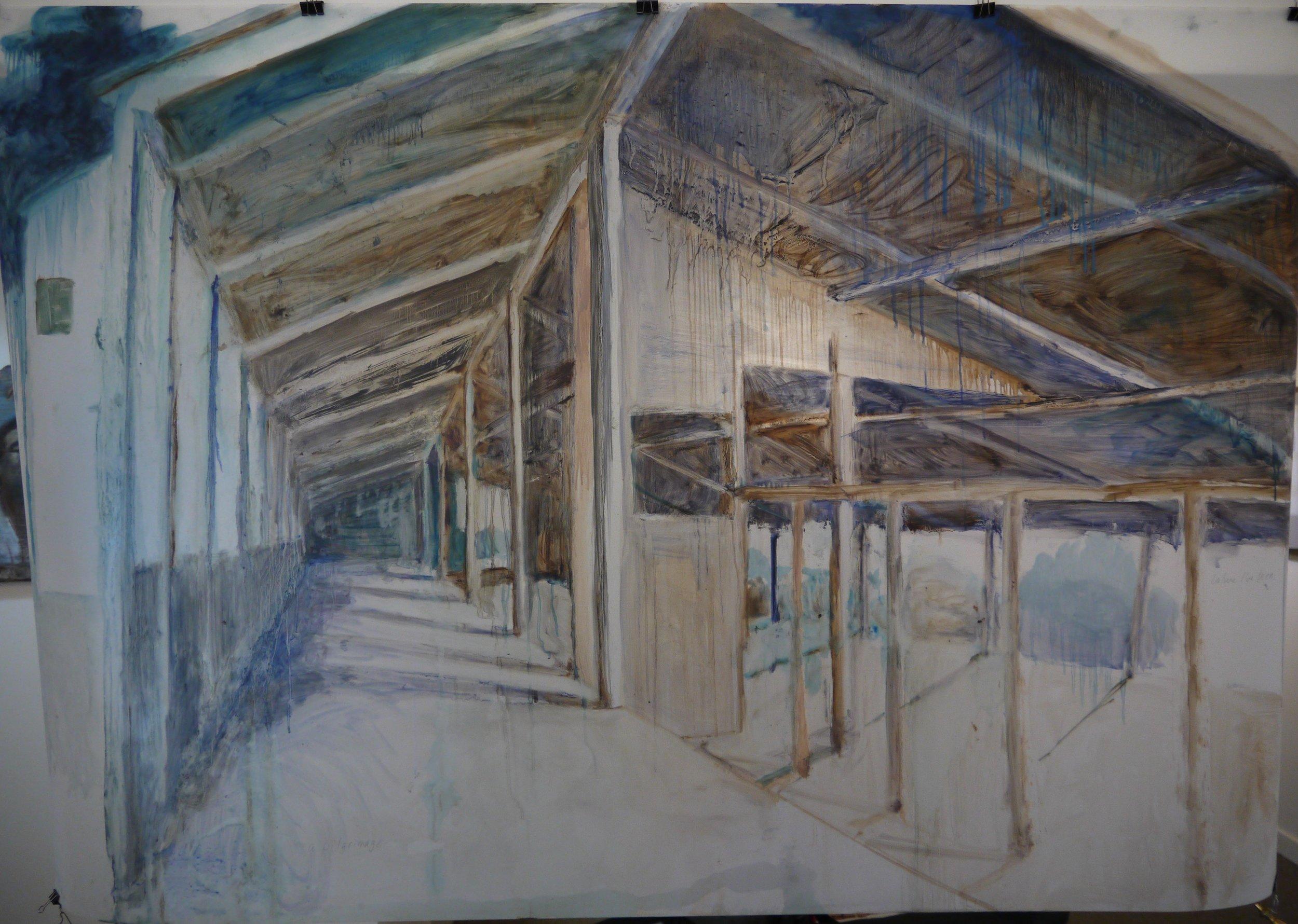"Burgoyne Bay Barn (Pilgrimage), 2017; oil on Duralar; 42 x 61"""
