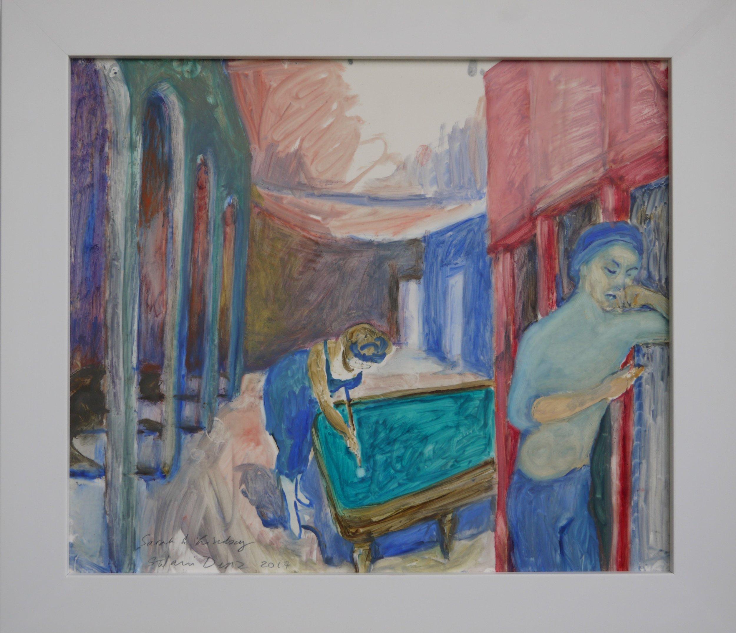 """Sarah and Lindsay, 2017; oil in Duralar; 14.5 x 17"""""""