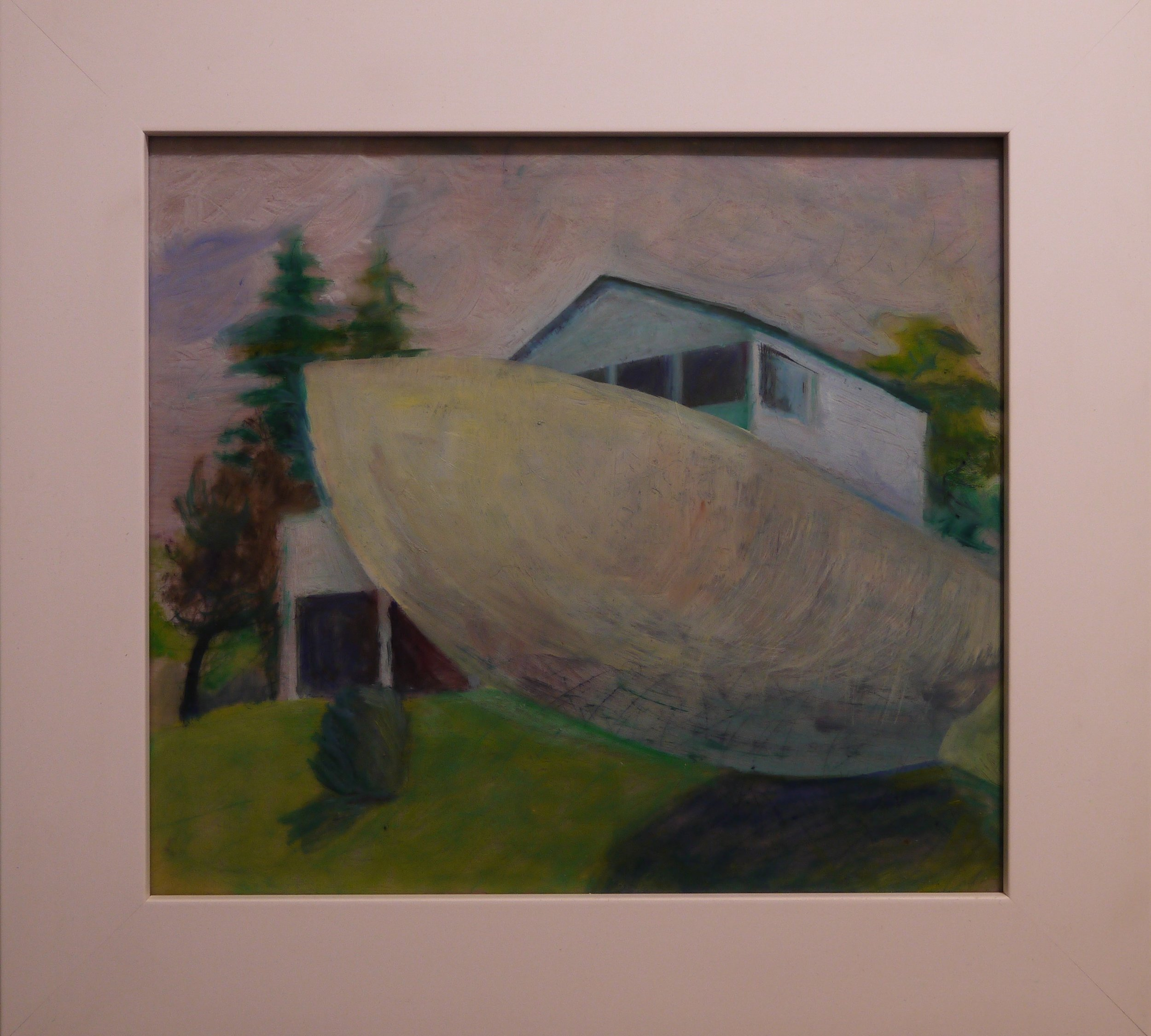 """Boat and House, 2017; oil on Duralar; 13 x 16"""""""