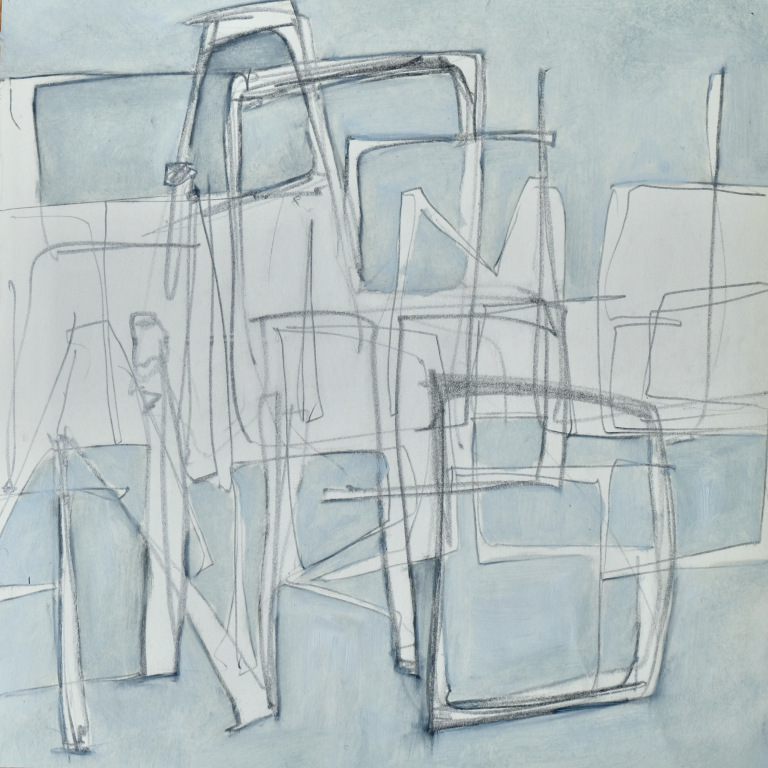 Falling Through Time 8.25 X 8.25″ 2014 oil and graphite on paper $275 framed.