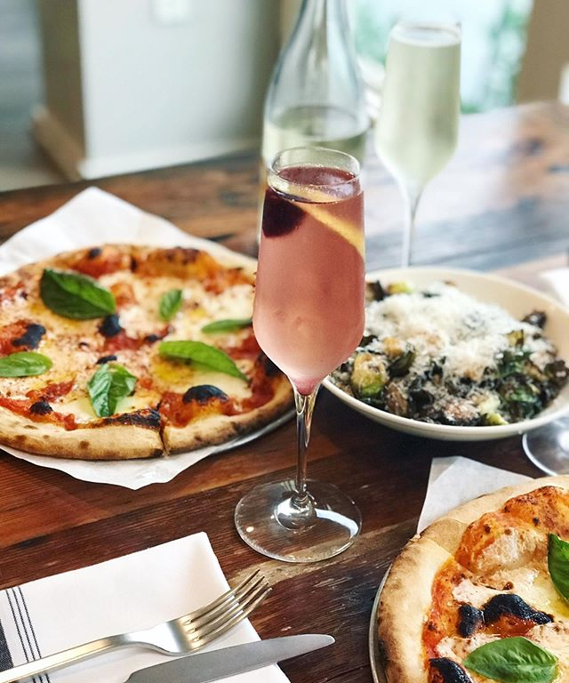 THURSDAY'S: LADIES NIGHT!🥂👯‍♀️ $5 bubbles + bliss champagne cocktail $5 glasses and $20 bottles of sparkling rosé & house brut! $7 margherita pizzas! ✨Also! Tonight! We have a pop-up by the very talented @meganpattersondesigns! Come grab some bubbles & jewelry!✨