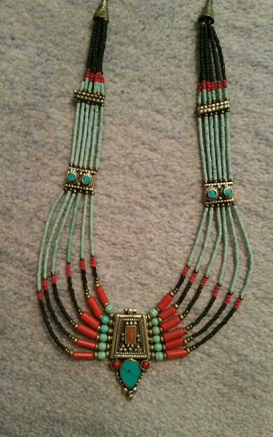 """Tibetan Necklace with combo of turquoise, coral, and lapiz. Length is 17"""" (""""inside measurement""""). $73"""