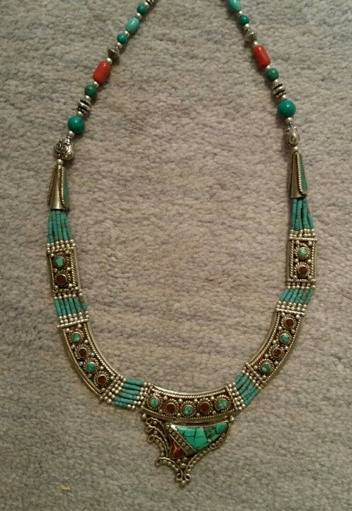 """Tibetan necklace with combo of turquoise and coral. Length is 17"""" (""""inside measurement""""). $79"""