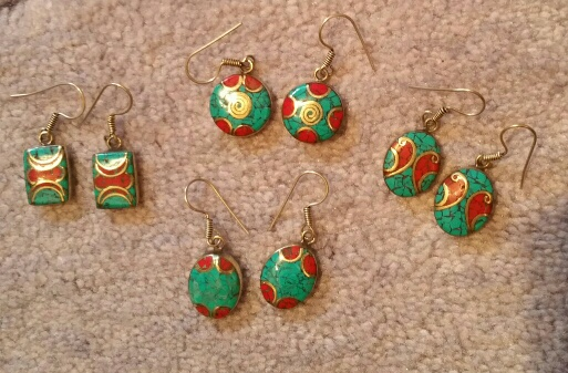"""Tibetan earrings - turquoise and coral. 1.5"""" long including hook. $15 each"""