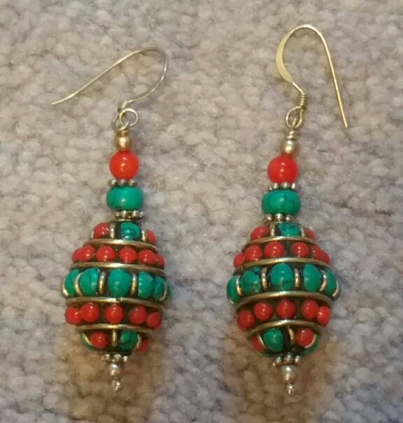"""Tibetan earrings - turquoise and coral. 2"""" long including hook. $23"""