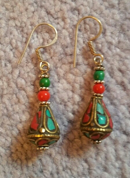 """Tibetan earrings - turquoise and coral. 1.75"""" long including hook. $19"""