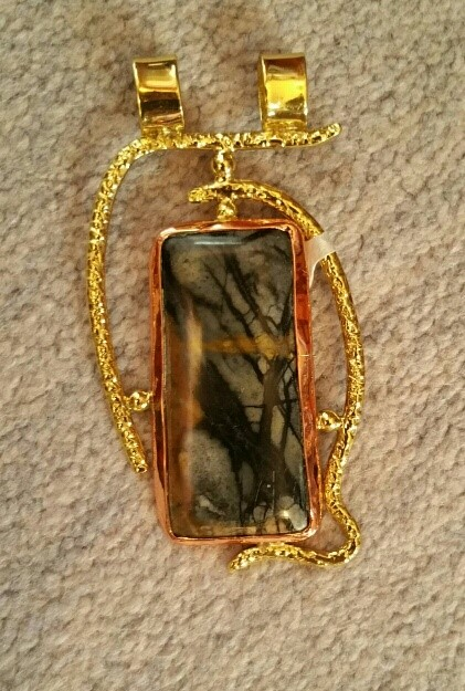 """Organic copper design pendant with jasper set in a brass bezel with large double bail. 3.5"""" tall, 2"""" wide. $79"""