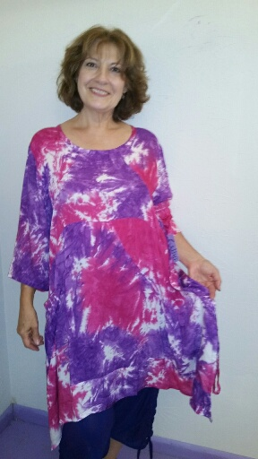 Free size tie dye rayon dress with tie ups on the sides (can be used or not). Button decor on pocket. $53
