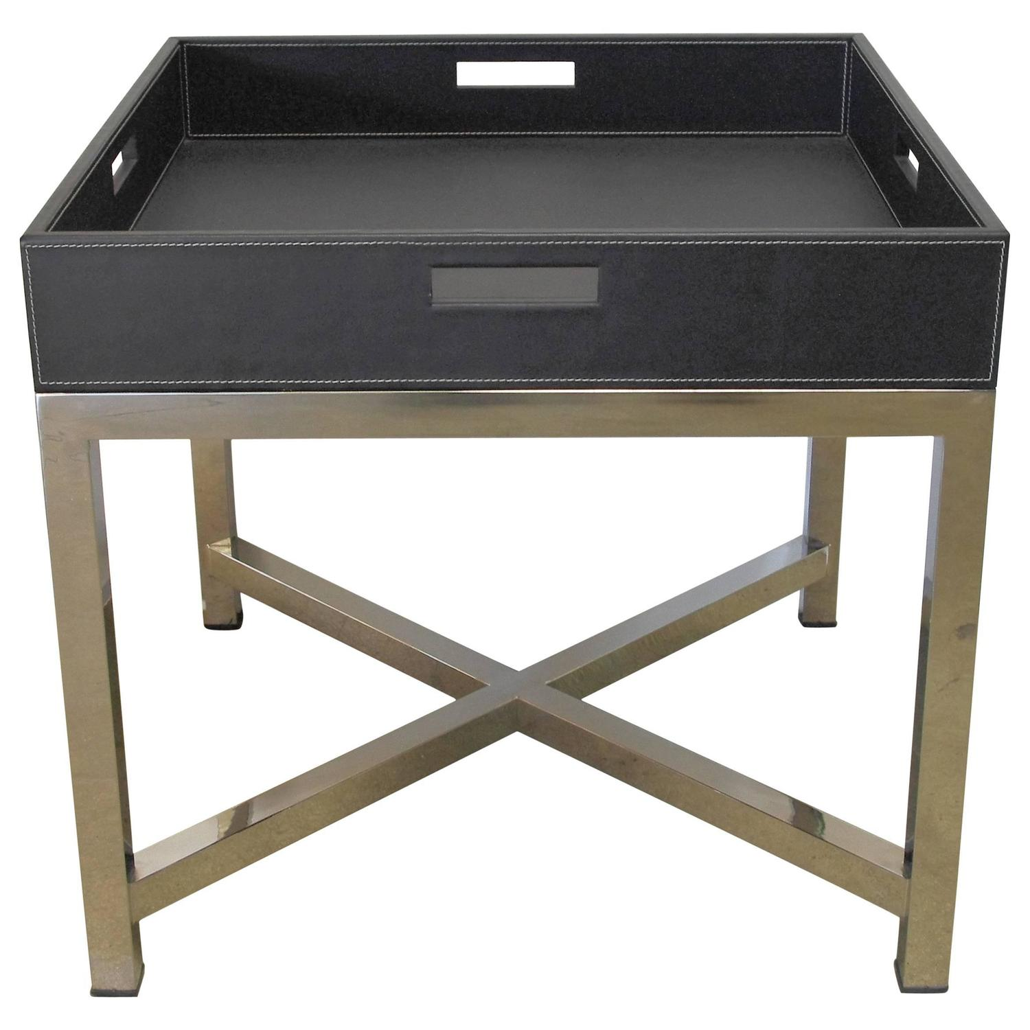 Black Leather And Stainless Steel Tray Table Fabio Ltd