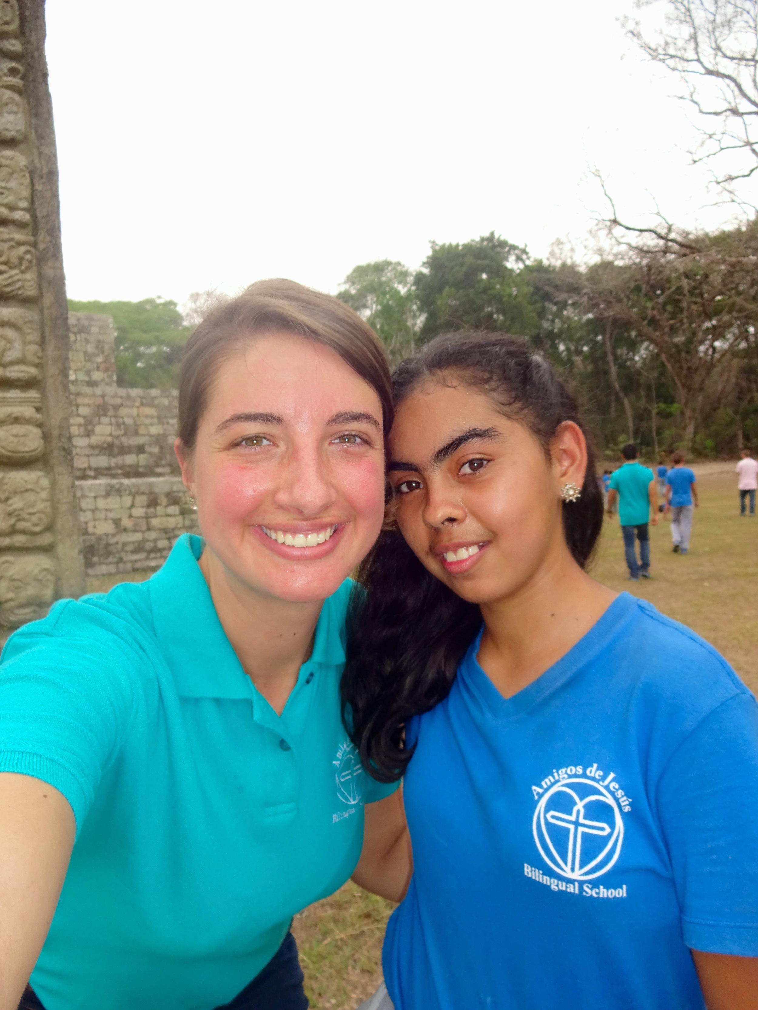 Andrea and one of her teachers at the Mayan ruins in April during the school field trip to Copan Ruinas, Honduras.