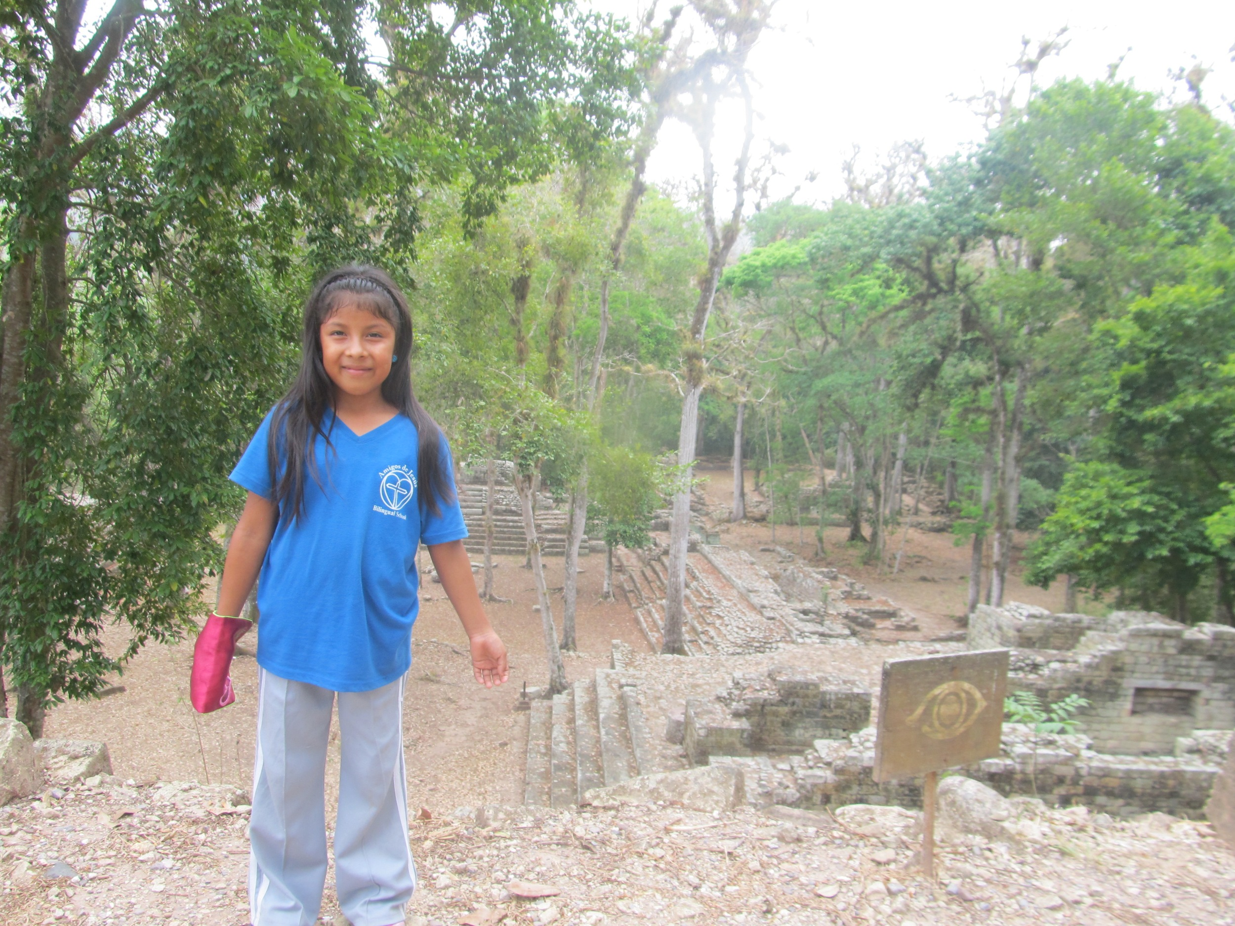 Visiting the Mayan ruins on the Amigos school field trip to Copan Ruinas, Honduras, in April.