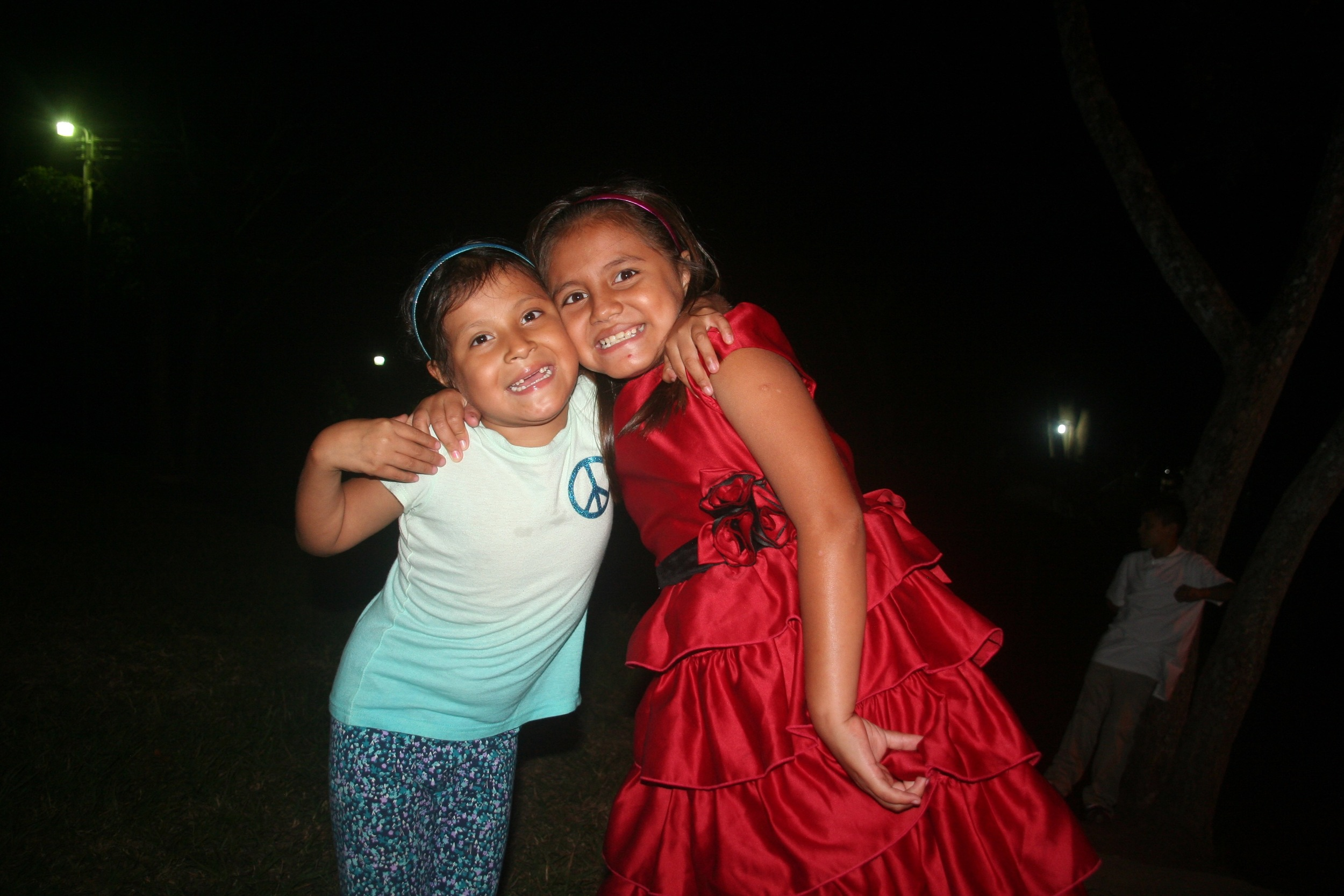Francisca (right) and a friend at the Christmas celebration last year