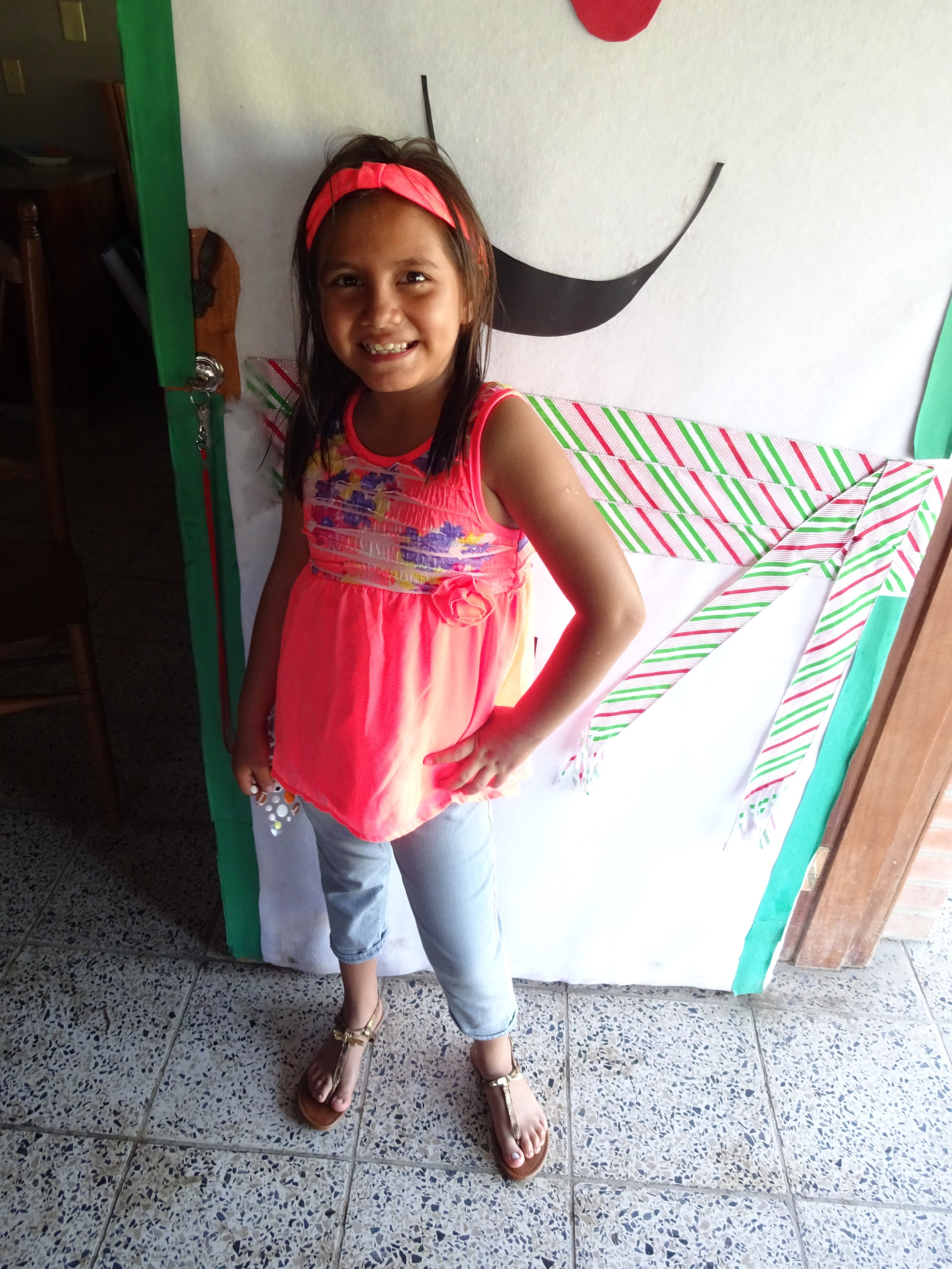 Francisca in her new clothes on Christmas