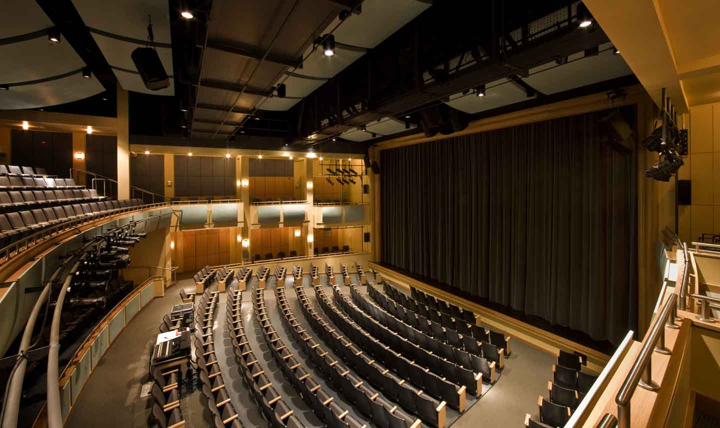 The Episcopal Academy's state-of-the-art MainStage Theater.  Mezzanine seating provides wonderful acoustics and there is truly not a bad seat in the house.