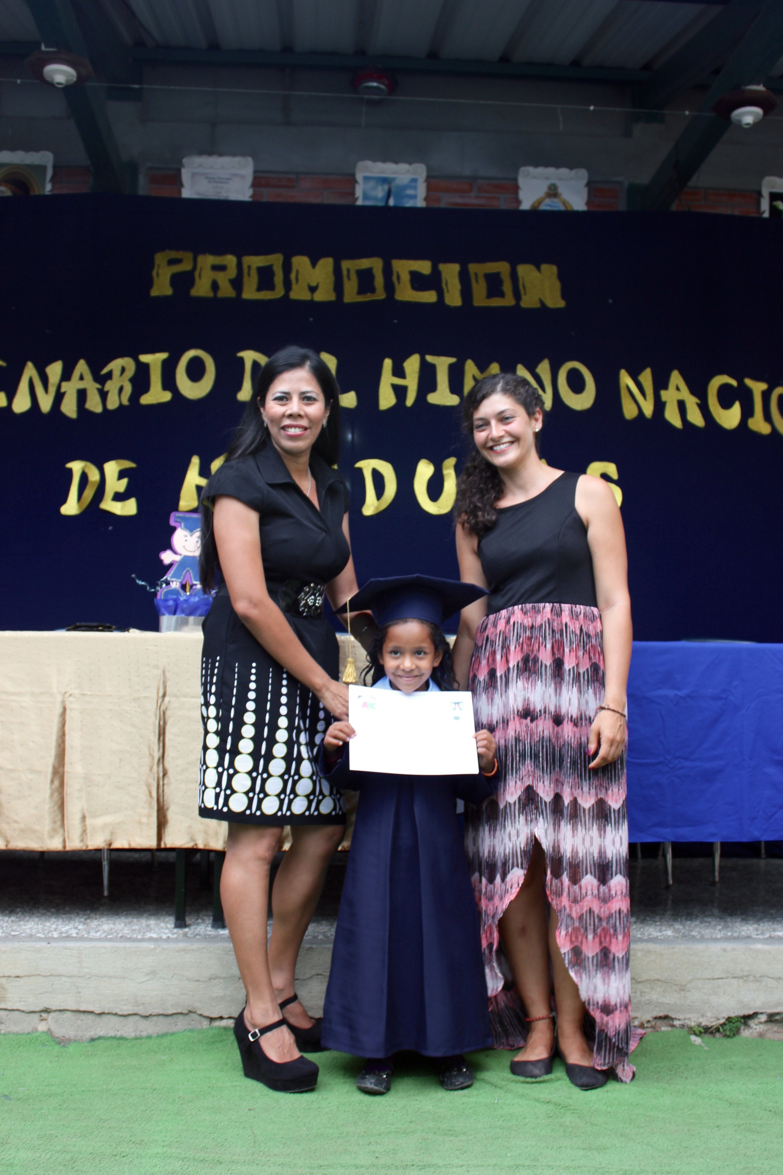 Profe Ana, one of her students, and Miss Christina (the English teacher for Prepa last year) at the Prepa graduation in May.