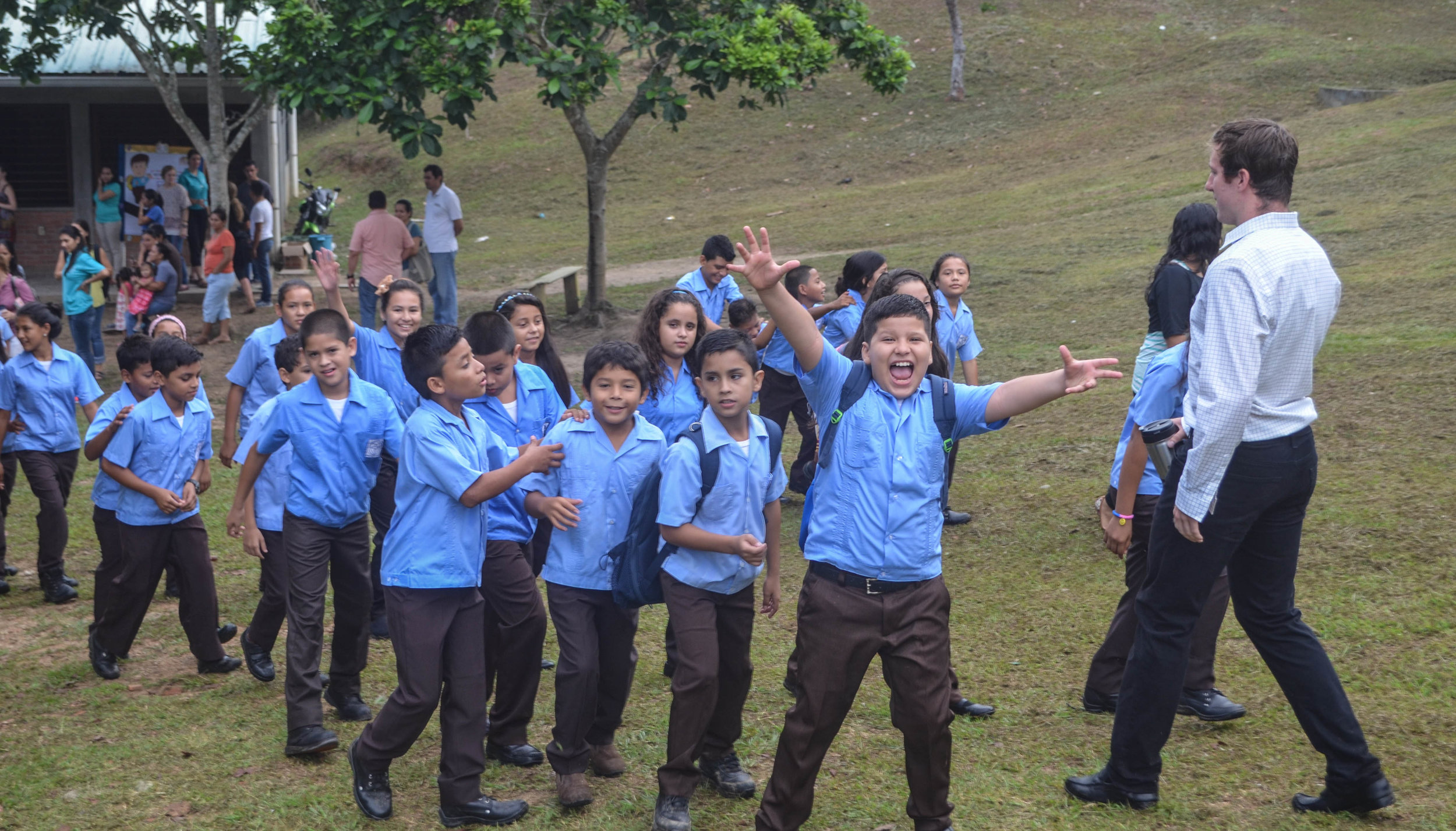 Jason* (third student from right) and classmates on their first day of 5th grade