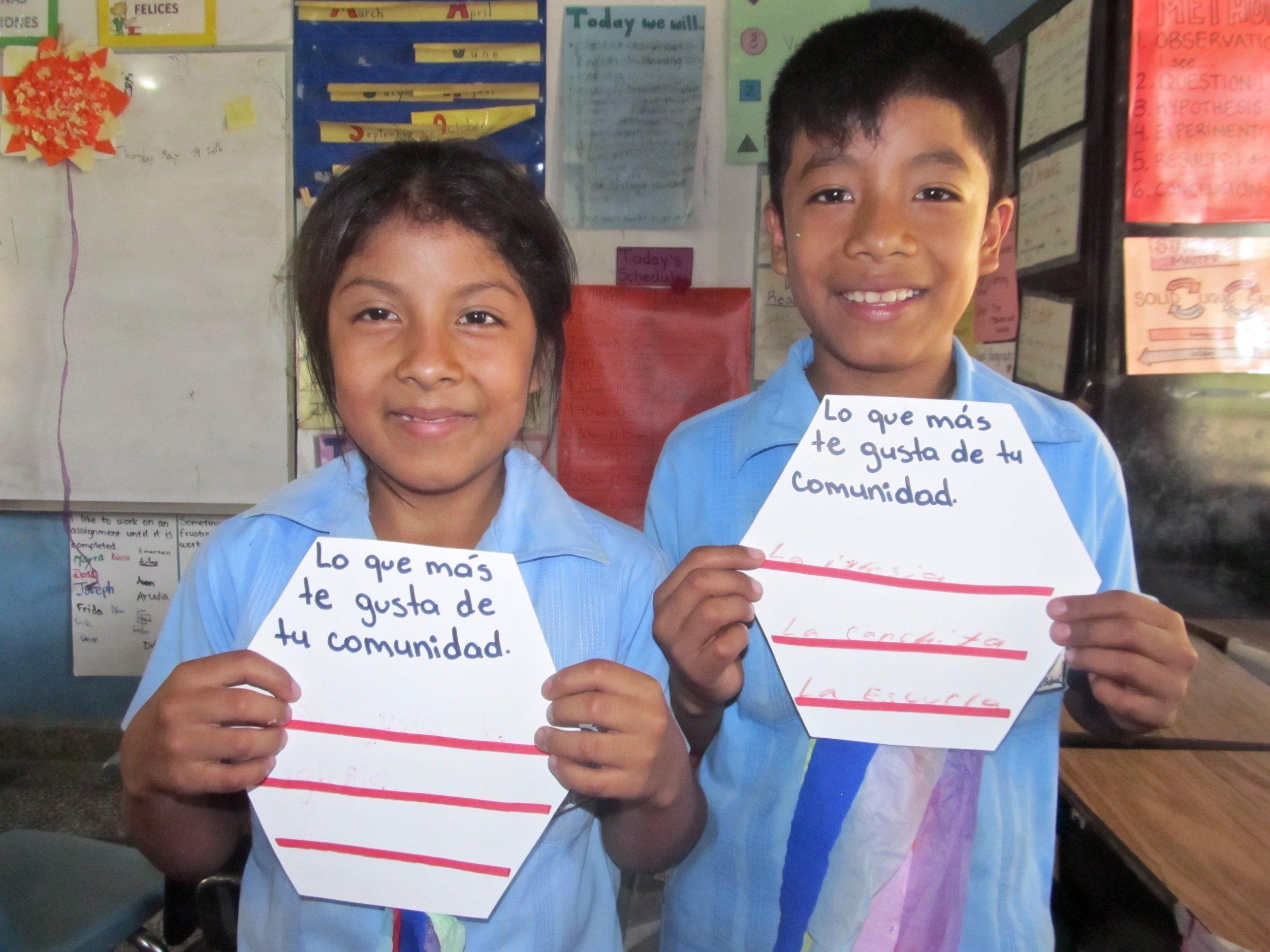 Hernando and his sister at school