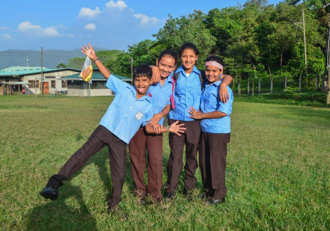 Elena (far right) and friends on the first day of school in August 2016.