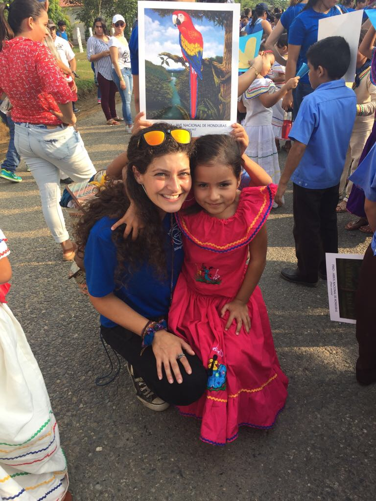 Miss Christina with one of our young girls following this year's Honduran Independence Day Parade.