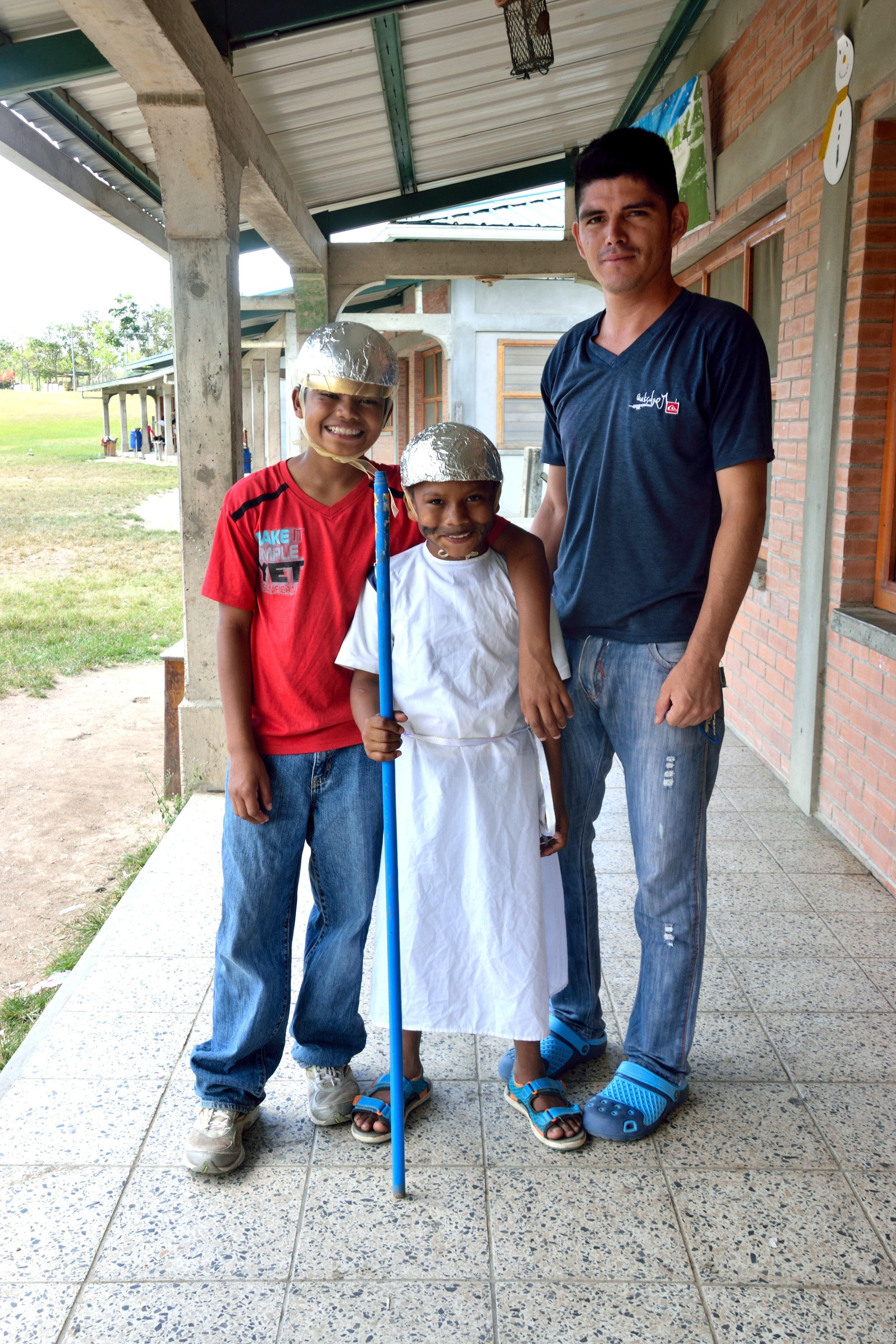 Emanuel (on the left) with his younger brother, Wilbur*, and Padrino Rigo, one of the caregivers in their dorm, before Living Stations of the Cross during Holy Week 2017.  In addition to his intelligence and inventive mind, one of Emanuel's most endearing qualities is the close, protective, and loyal relationship he shares with his brother.