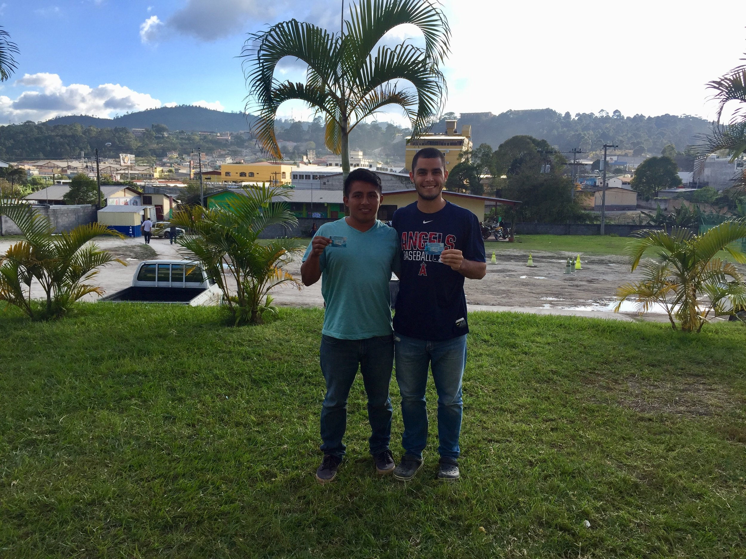 Mr. Zack and one of our 'jovenes' pose for a photo after both of them passed their written and manual driving test in Santa Rosa. The two spent many hours practicing driving, parking, and studying before finally taking the test and getting their Honduran driver's license.