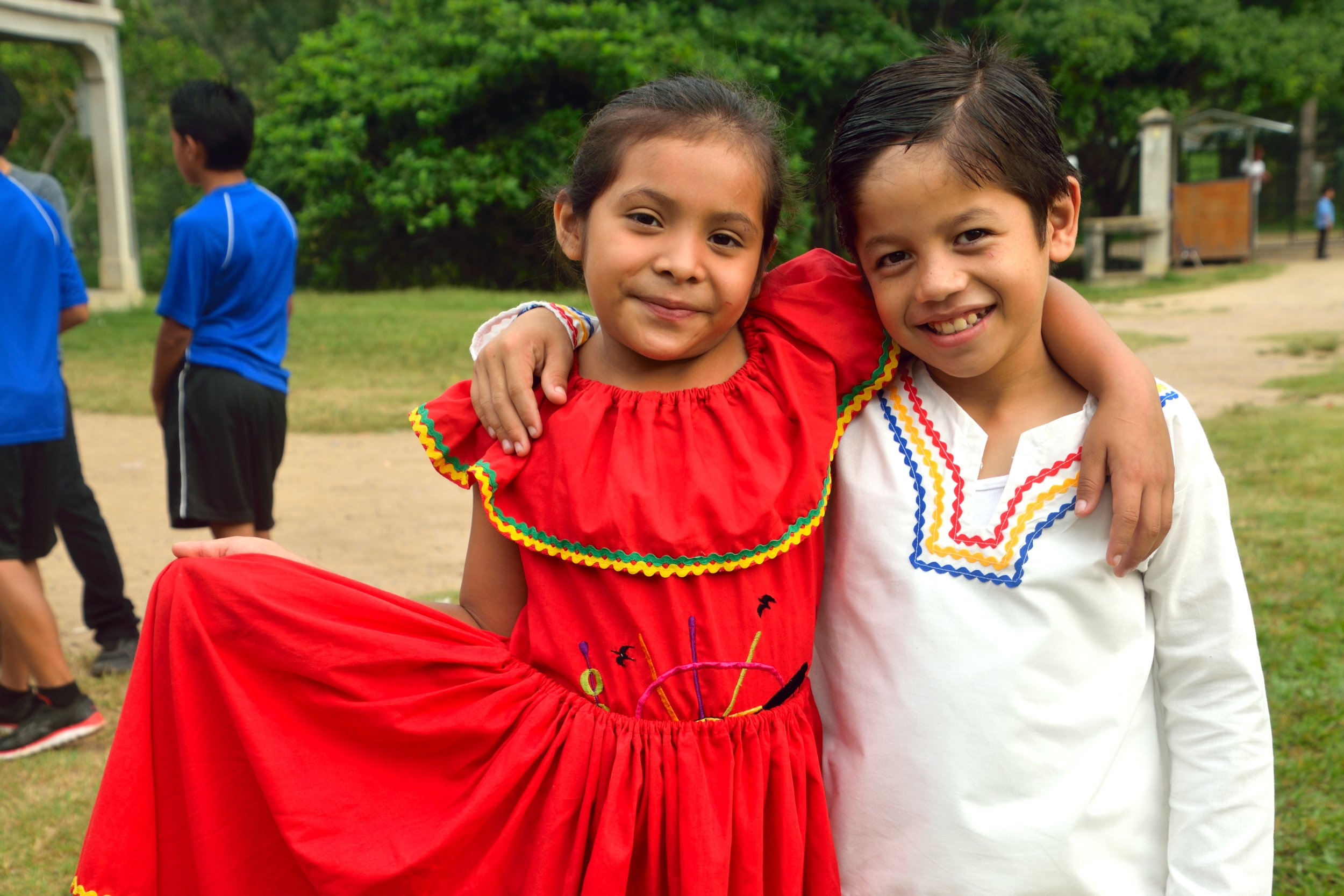 Sara with a friend dressed up and preparing for the Honduran Independence Day Parade in September 2018.