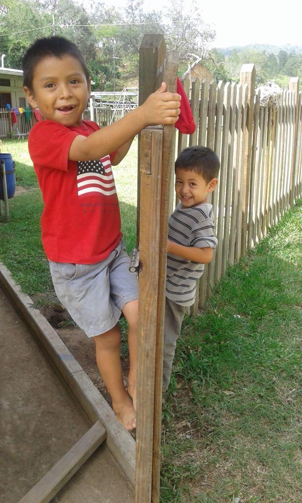 Climbing a fence!