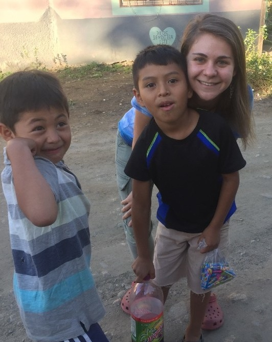 Ms. Stephanie on a birthday walk with some of the boys of Hogar San Oscar Romero
